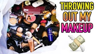 CLEANING OUT MY MAKEUP COLLECTION! | Lauren Curtis