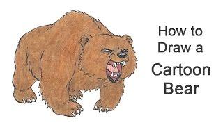 How to Draw a Bear Roaring / Growling (Cartoon)