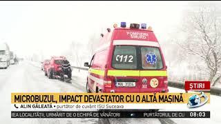 Un microbuz s-a izbit cumplit de o autoutilitară la Suceava. Planul roșu de intervenție a fost ac