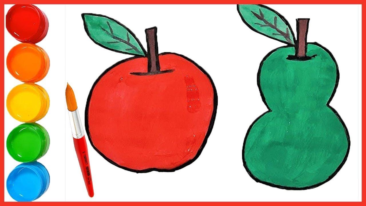 Meyve Cizimi Ile Boyama Cocuklar Renkleri Ogreniyor Elma