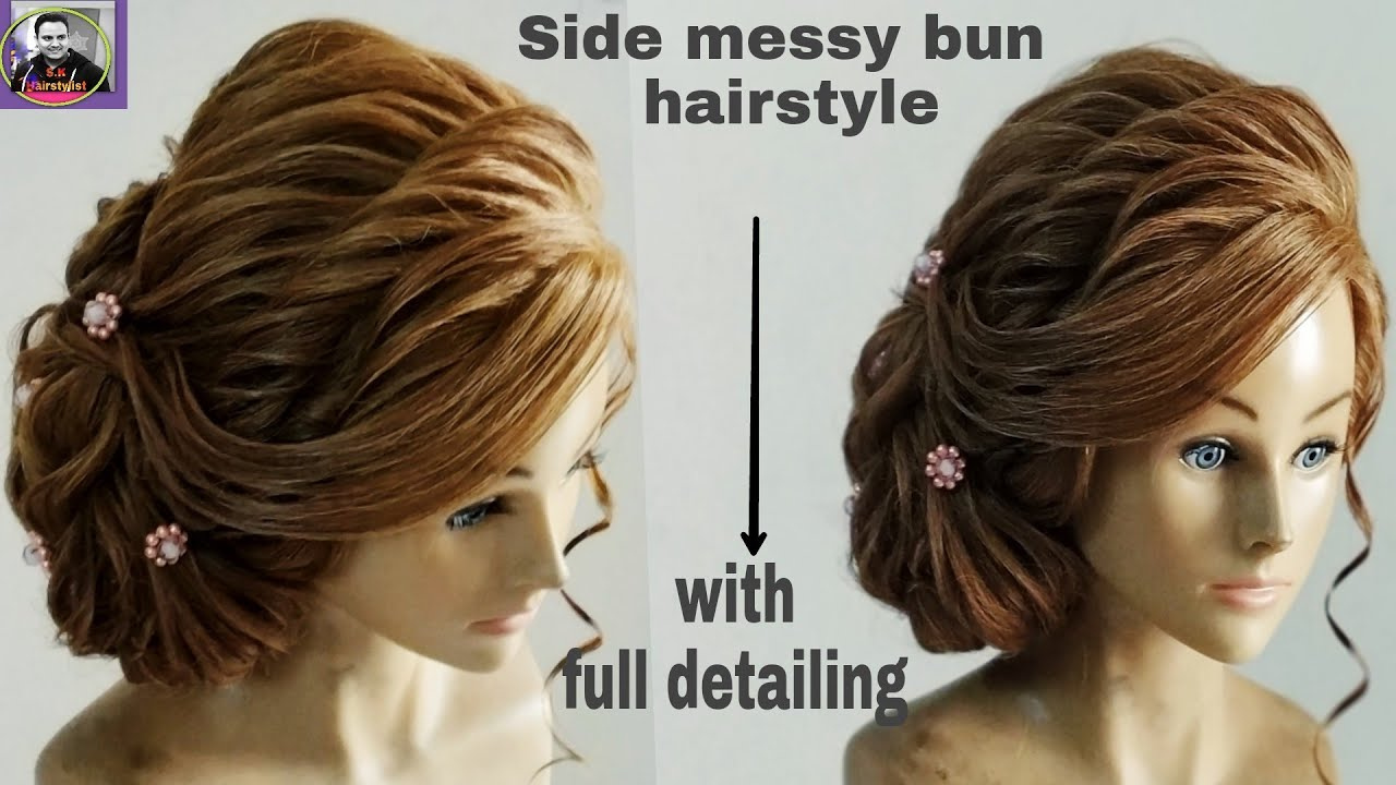 side messy bun hairstyle /side bun hairstyle tutorial /side bun updo hairstyle/side messy hairstyle