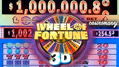 "$1 WHEEL OF FORTUNE 3D SLOT ""LIVE PLAY"" - Big Win! - Slot Machine Bonus"