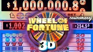 "$1 WHEEL OF FORTUNE 3D SLOT ""LIVE PLAY"" - Big Win! - Slot Machine Bonus"