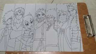 Fairy Tail : 7 dragon slayer ink drawing