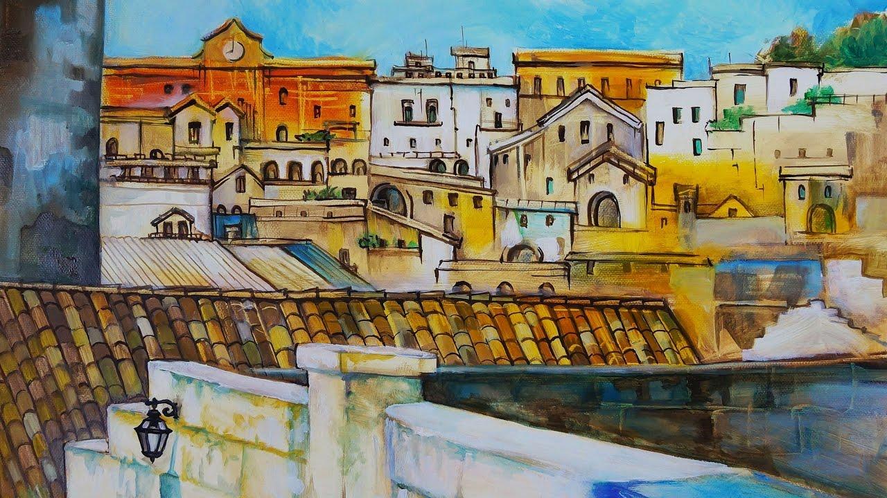 Matera pittura ad olio musica rilassante paesaggio for Quadri da copiare