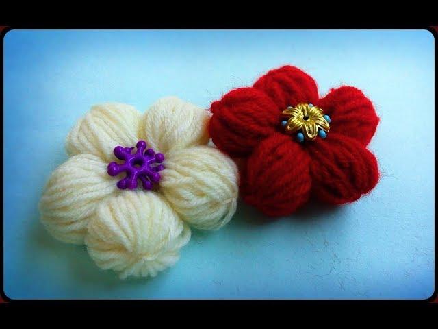 woollen/yarn flower without crochet | Puff yarn flowers made with hand | DIY Simple handicraft