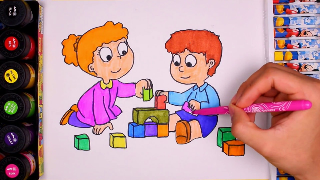 drawing and colouring kids playing by water colors learning colors and draw for kids - Images Of Kids Drawing