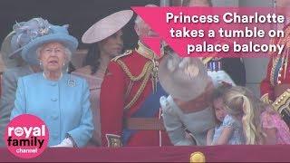Princess Charlotte takes a tumble on Buckingham Palace balcony