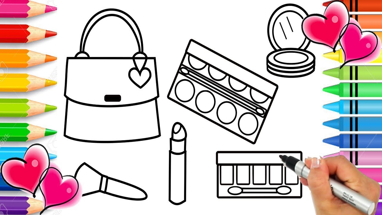 Glitter Makeup Coloring Page | Glitter Coloring Pages | Glitter ...