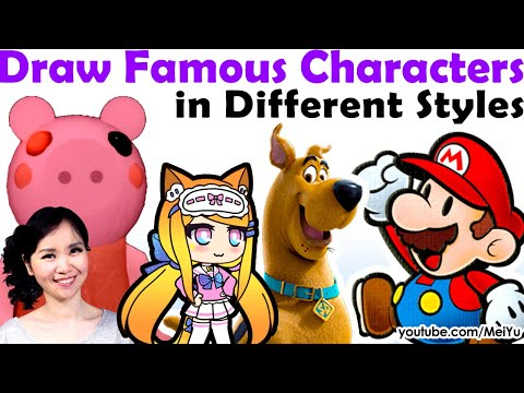 Super FUN Art: Draw Famous Characters In Different Styles: Roblox Piggy Gacha Life Scoob Paper Mario