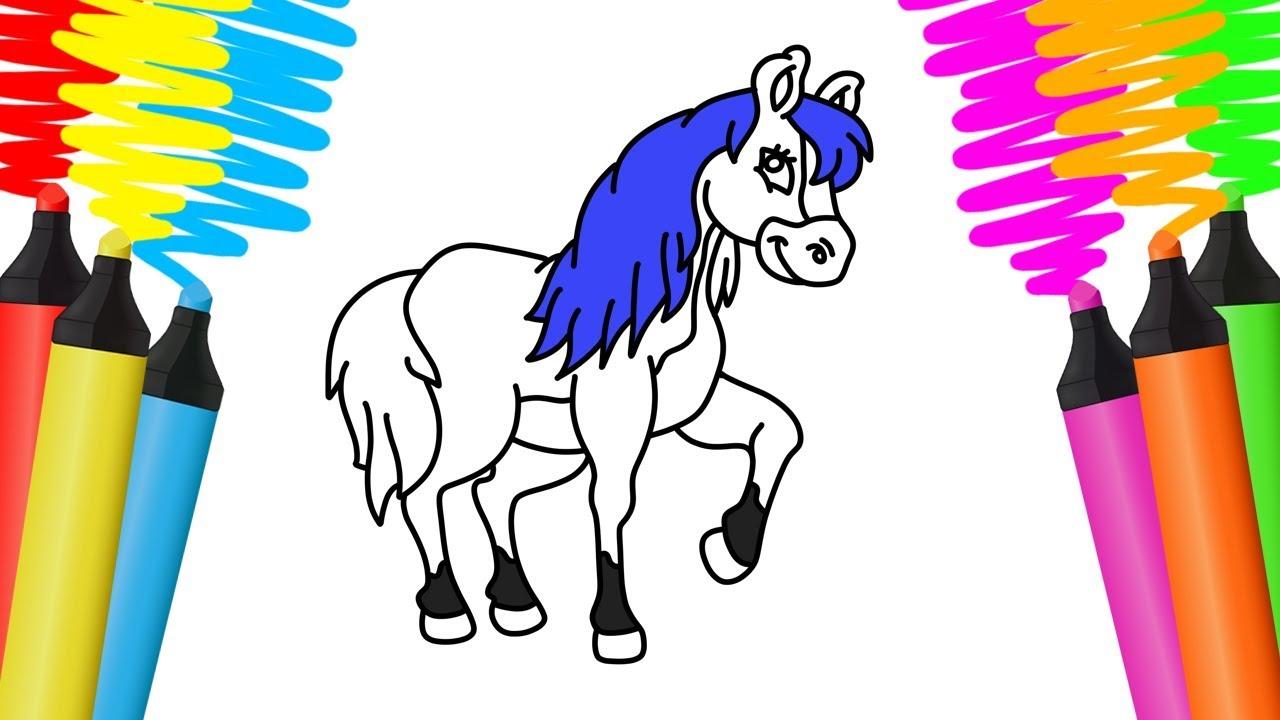 Como Desenhar E Pintar Cavalo Desenho Para Colorir Youtube