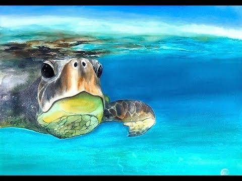 Underwater Sea Turtle in Watercolors Painting Tutorial