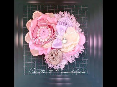 como hacer una tiara con flores de tela y rosas de
