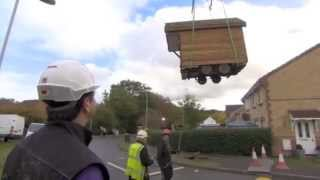 Craned over the house. Harrys Hideout, built by Mark Burton and Tiny House UK on DIY SOS.