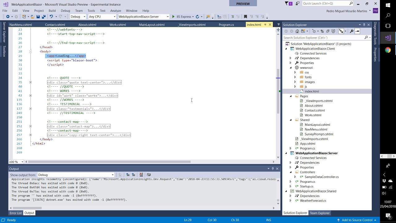 Aula 02 - Tutorial Blazor com Javascript num site de portefólio