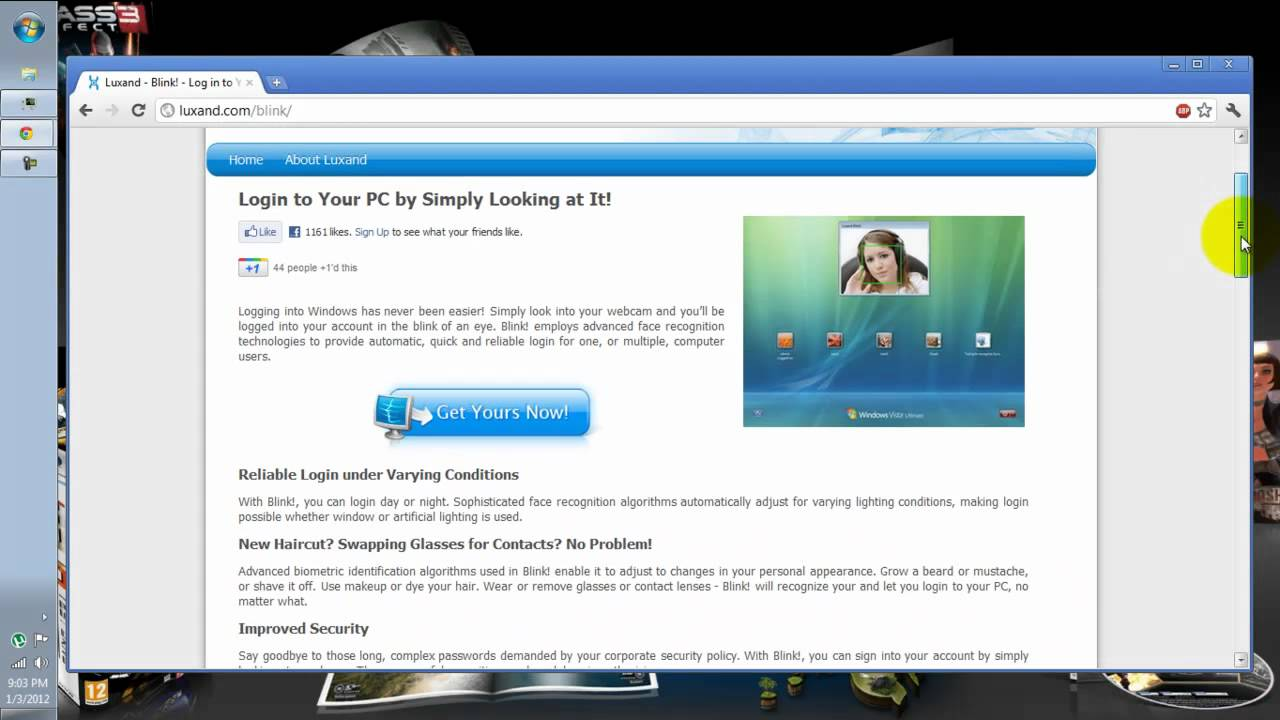 Free facial recognition software for vista