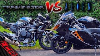 Kawasaki Ninja H2 VS Hayabusa   Terminator VS Alien - VOLUME UP!!! 😎