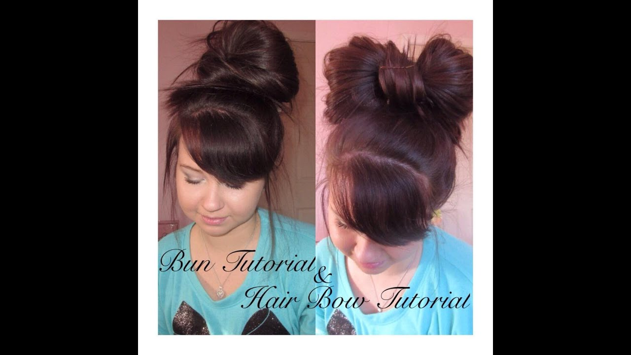 HOW TO MESSY BUN HAIR BOW YouTube - Hairstyle bun with bow