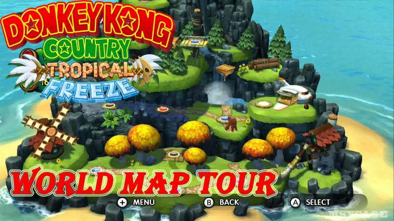 Donkey Kong Country : Tropical Freeze - World Map Tour Preview [ HD on