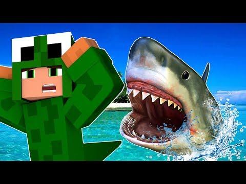 STRANDED SHARK ATTACK CHALLENGE! Minecraft Shark Attack