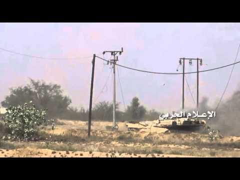 Yemen war 2016- Houthis fighters destroyed Saudi M1 Abrams Tank by IED in Jizan