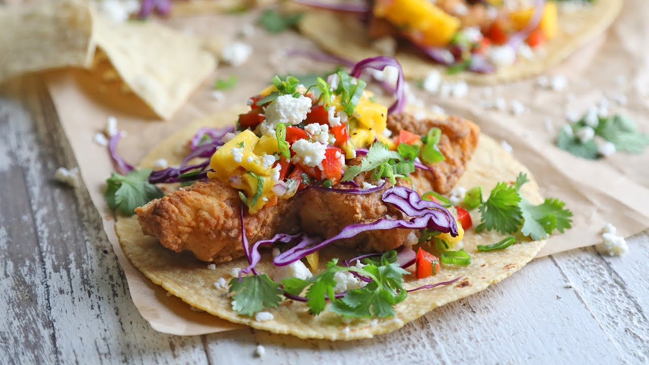 Air fried beer battered fish tacos with mango salsa the for Airfryer battered fish