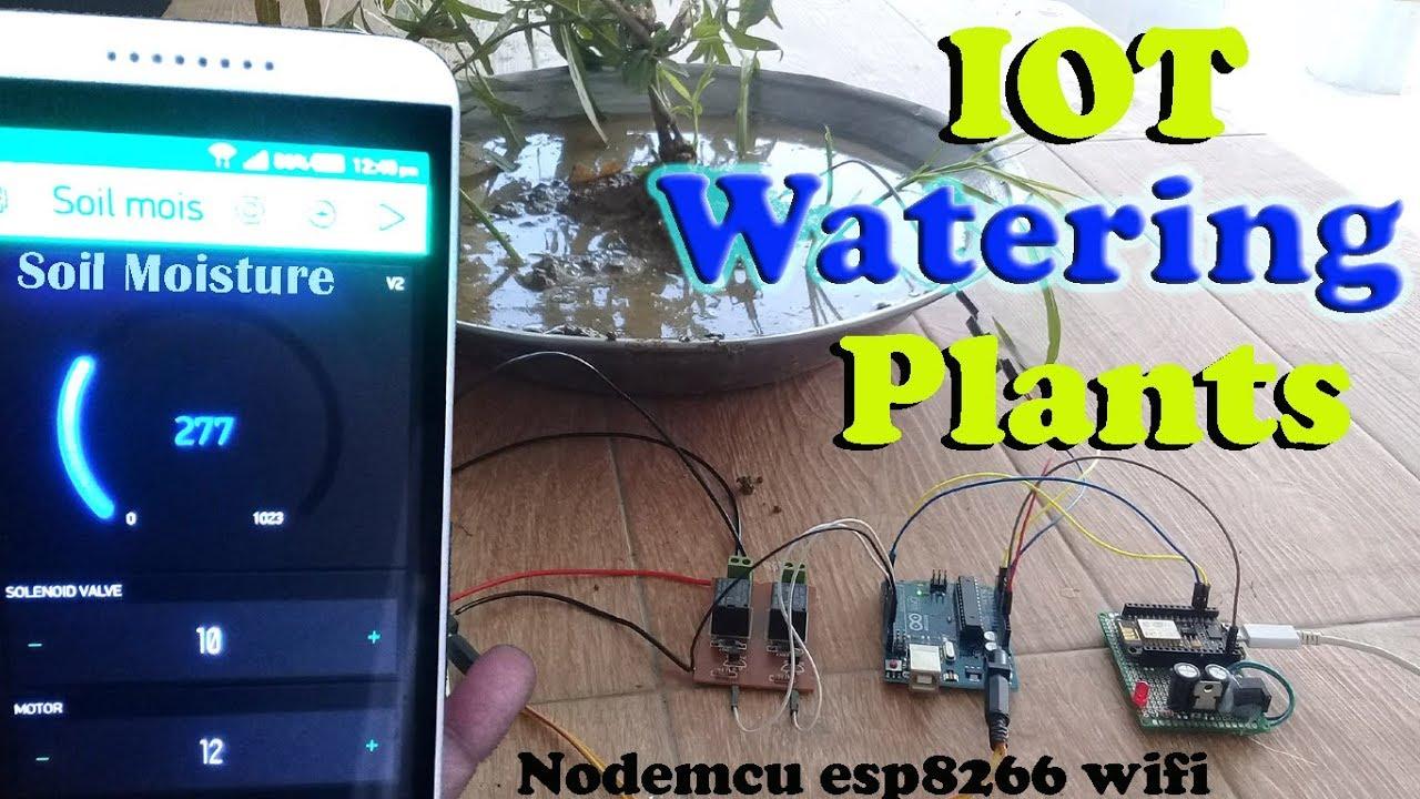 "Arduino project: IOT watering plants | IOT soil moisture sensor using  Nodemcu esp8266 wifi"""