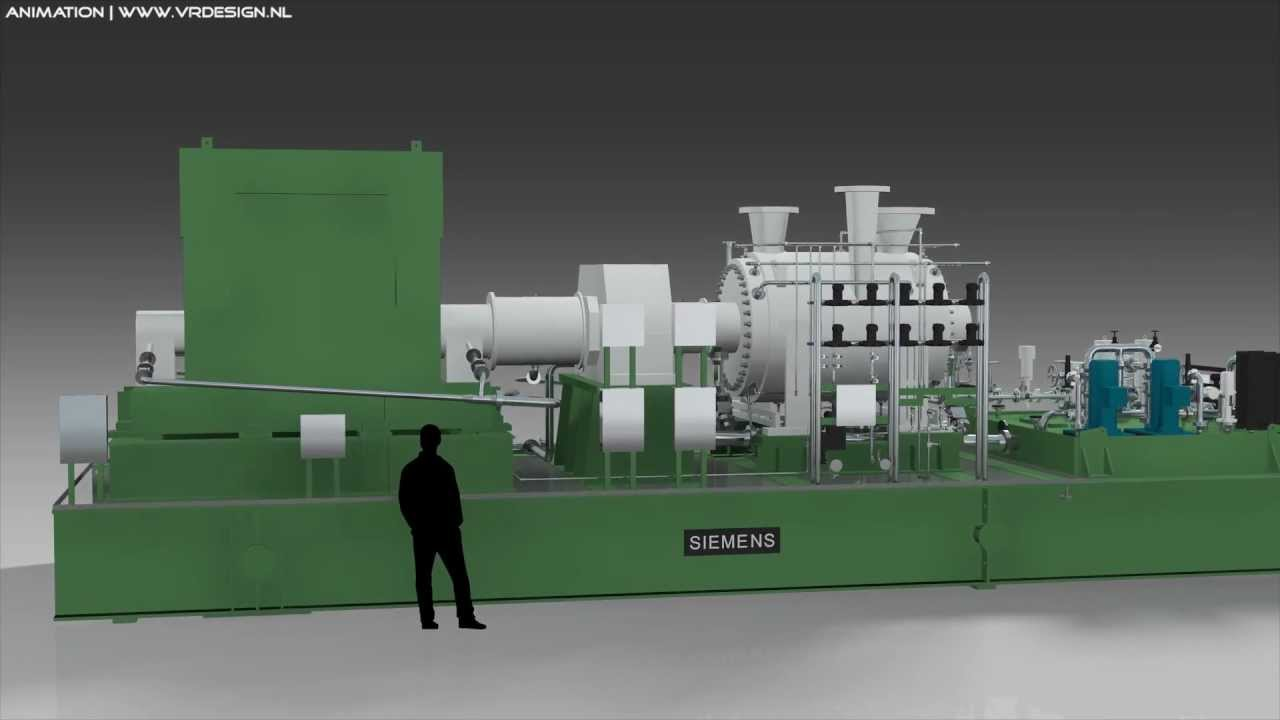 3D Animation Electrical Energy Power Plant GasTurbine