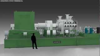 3D Animation Electrical Energy Power Plant GasTurbine Engine (360° View) Siemens