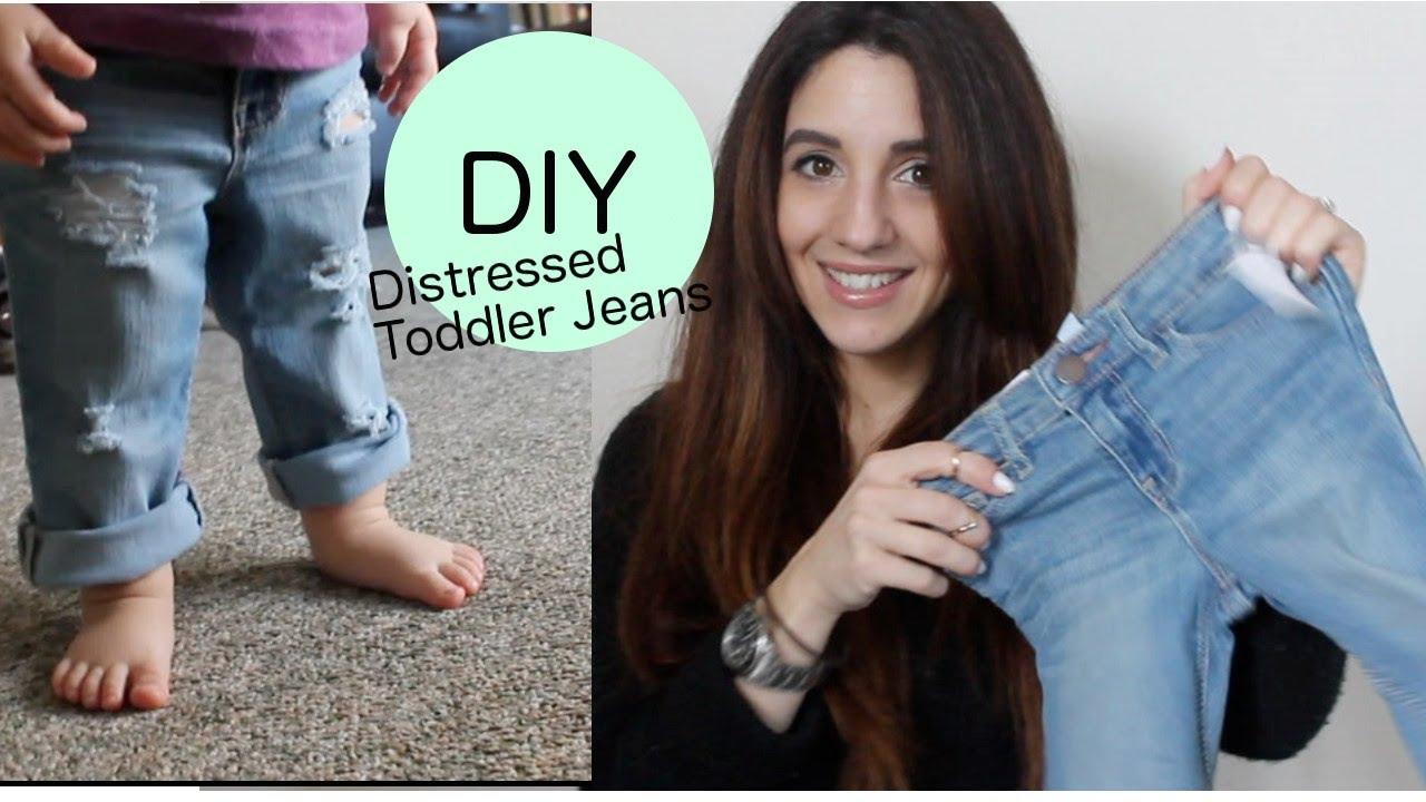 b1749a1259 DIY Distressed Boyfriend Jeans (Toddler Version) - YouTube