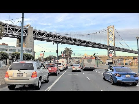 Driving Downtown - San Francisco's Shoreline - San Francisco California USA
