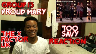 Group 13 cover Tina Turner's Proud Mary   Boot Camp   The X Factor UK 2015 *REACTION*