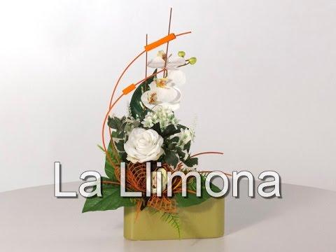 Arreglos florales jardinera ceramica rosas artificiales - Como hacer centro de flores artificiales ...