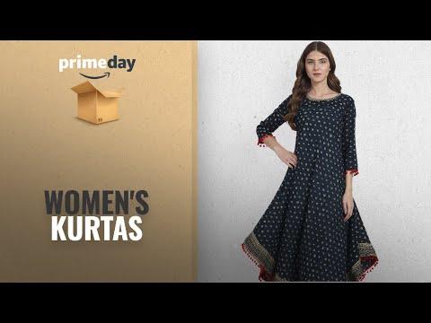 WOMEN\'S KURTAS Prime Day Deals 2018: Amayra Womens Cotton Blue Printed Anarkali Kurti(Medium,Blue)