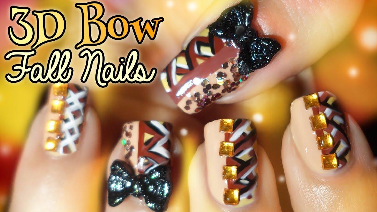 Fall Blocking Anese Hime Bow Nail Art Tutorial
