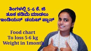 ತಿಂಗಳಲ್ಲಿ 5-6 ಕೆ. ಜಿ ತೂಕ ಕಡಿಮೆ ಮಾಡಲು ಇಂಡಿಯನ್ ಡಯಟ್ ಪ್ಲಾನ್ /Indian diet plan to loss 5-6kg in a month