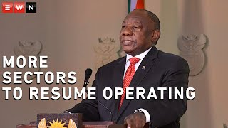 President Cyril Ramaphosa delivered an update in which he announced that more business sectors will be allowed to resume operating under strict rules. The president also addressed the issue of gender-based violence.