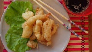 Корейская кухня: Оджино Двэгим (오징어 튀김) или кальмар, жареный во фритюре