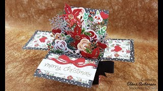 Christmas Floral Pop-Up Box Card with Tim Holtz Dies & Lawn Fawn