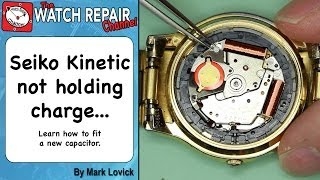 Seiko Kinetic watch is not holding charge. How to fit a new capacitor. 7M22 thumbnail