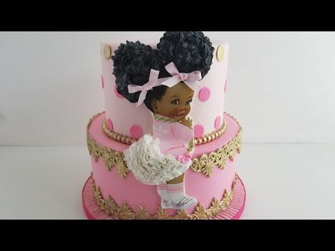Afro Puff Girl Cake Vintage Baby Cake Youtube