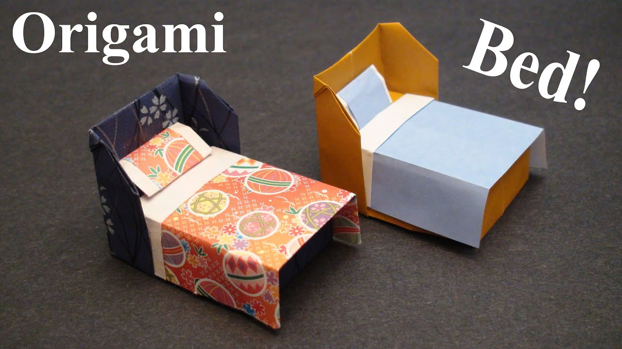 how to make a doll house bed with bedding origami paper craft sunderorigami  [ 1280 x 720 Pixel ]