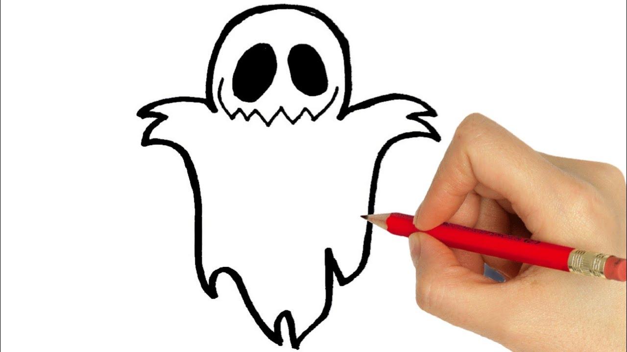 How To Draw Halloween Ghost Como Desenhar Um Fantasma Youtube