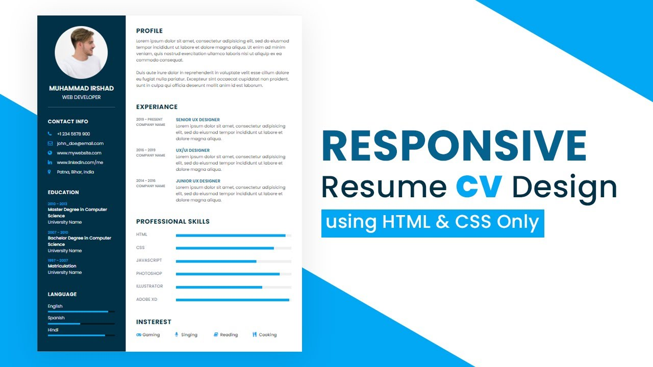 How to Create Responsive Resume Website using HTML and CSS | Resume CV Design in HTML CSS