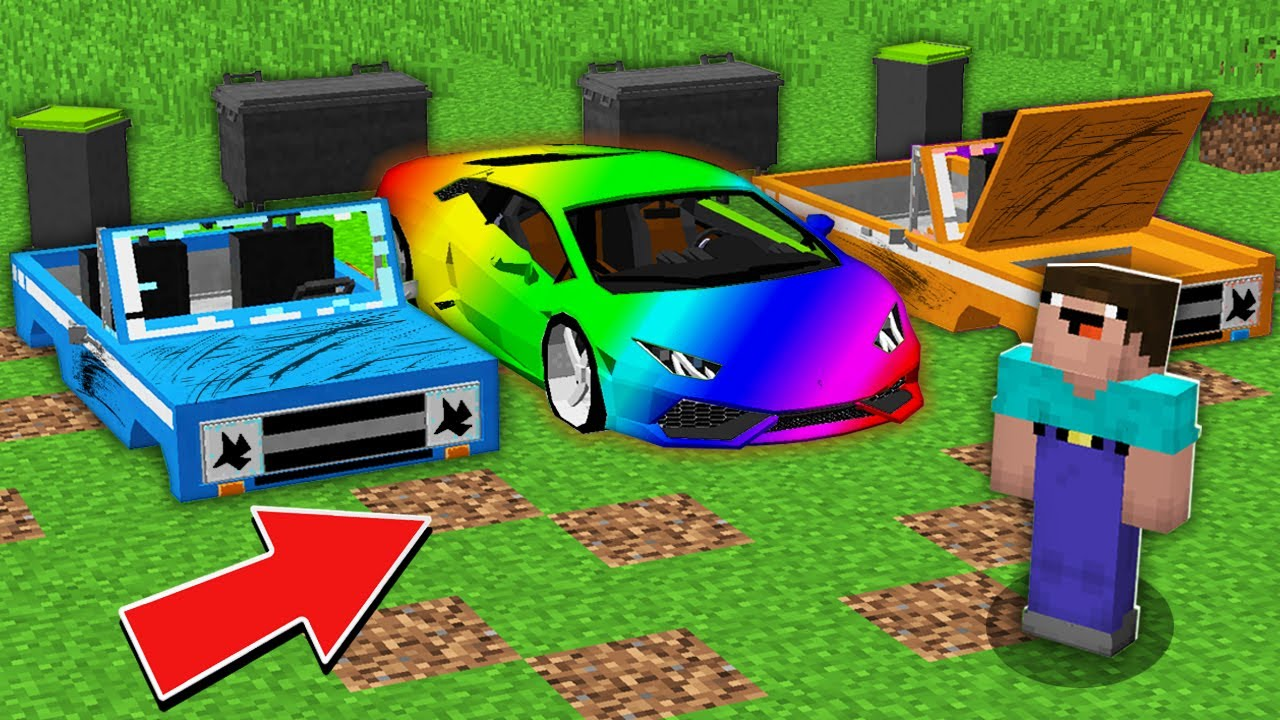 Minecraft NOOB vs PRO: NOOB FOUND SUPER RAINBOW CAR IN THIS SECRET LANDFILL Challenge 100% trolling