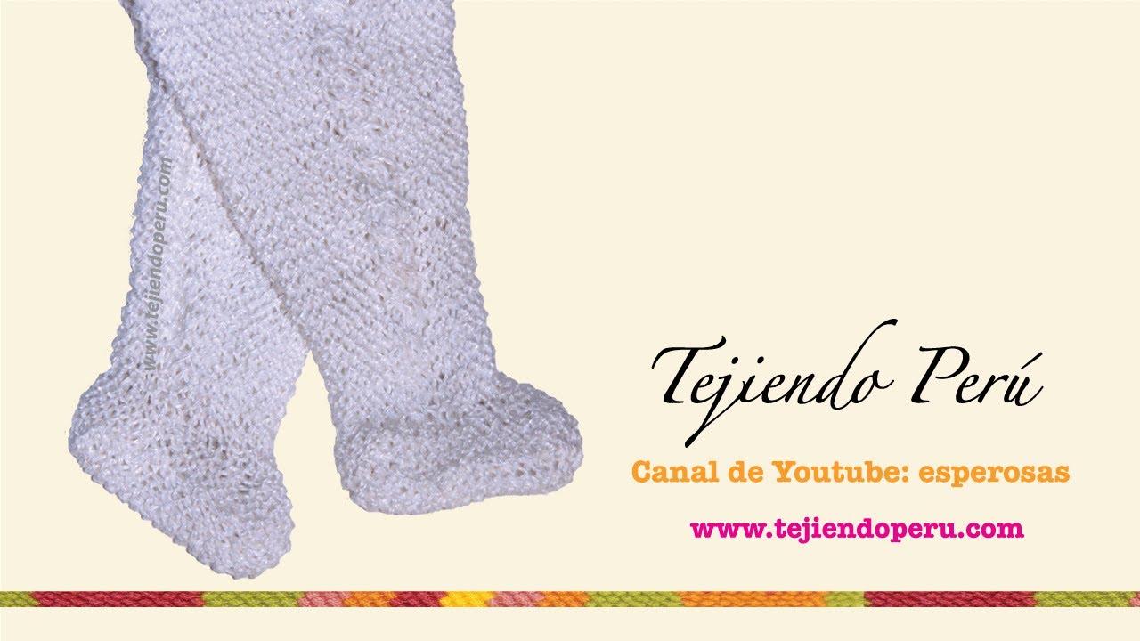 Pie o zapatito tejido en dos agujas para el pantalón de bebé (Parte ...