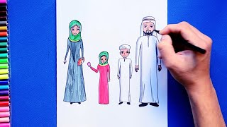 How to draw and color an Arab Family