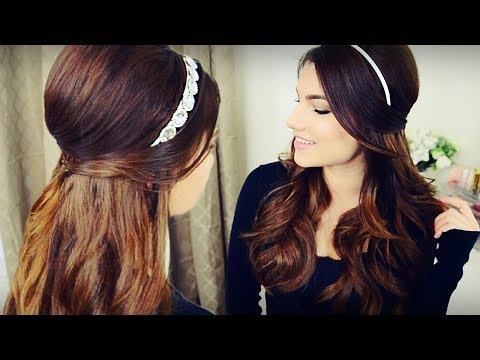 DIY Holiday Headband + Voluminous Curls with Bouffant Half Up Hairstyle