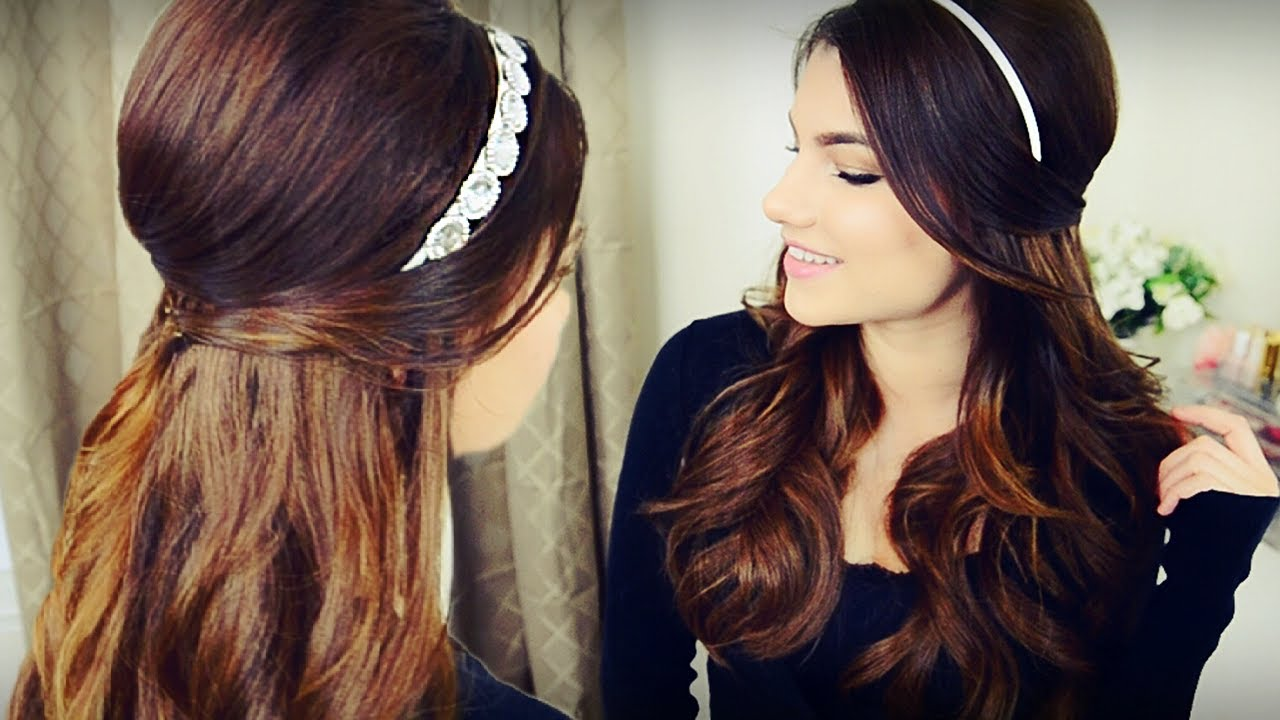 Diy holiday headband voluminous curls with bouffant half up diy holiday headband voluminous curls with bouffant half up hairstyle youtube solutioingenieria Gallery