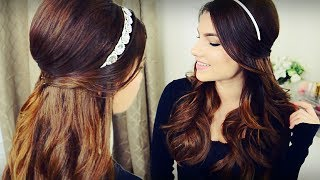 diy holiday headband voluminous curls with bouffant half up hairstyle